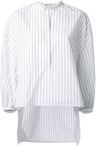 Enfold pinstriped bishop sleeve blouse