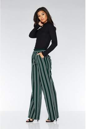Quiz Green And White Stripe Palazzo Trousers