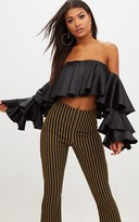 PrettyLittleThing Black Satin Layered Frill Bardot Crop Top