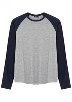 Vince Grey And Navy Cotton Baseball Top