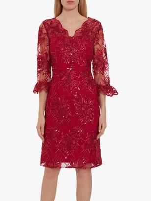 Gina Bacconi Corla Floral Embroidered Dress, Damson