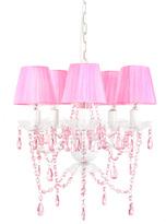 Sleeping Partners Pink Sapphire Tadpoles Shaded Five-Bulb Chandelier