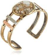 Barse Tri-Tone White Calcite Cuff Bracelet