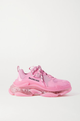 Balenciaga Triple S Clear Sole Logo-embroidered Faux Leather, Foam And Mesh Sneakers - Pink