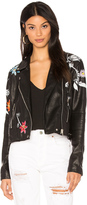 Blank NYC BLANKNYC Embroidered Faux Leather Jacket