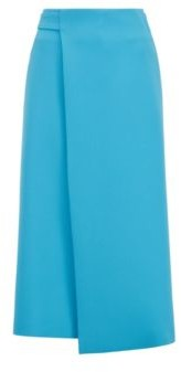 HUGO BOSS Midi Wrap Skirt With Tie Belt In Portuguese Twill - Blue