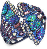 Betsey Johnson Purple-Tone Multicolor Pavé Butterfly Wing Hinged Cuff Bracelet