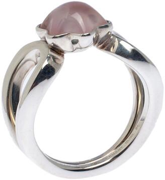 Montblanc Cabochon de Rose Quartz Silver Ring Size 54