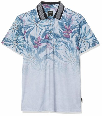 Burton Menswear London Men's Short Sleeve Floral Print Regular Fit Polo Shirt