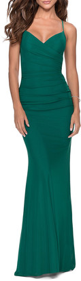 La Femme V-Neck Ruched Jersey Gown w/ Crisscross Lace-Up Back