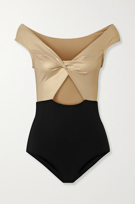 Karla Colletto Carmelle Off-the-shoulder Cutout Two-tone Swimsuit - Gold