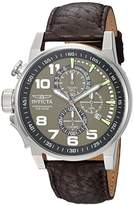 Invicta 'I-Force' Quartz Stainless Steel and Leather Casual Watch, Color:Brown (Model: 13054)
