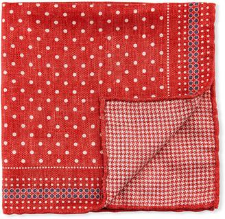 Brunello Cucinelli Men's Reversible Dots/Houndstooth Pocket Square