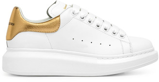 Alexander McQueen White and gold classic sneakers