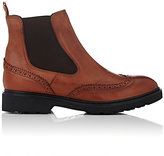 Barneys New York WOMEN'S LEATHER WINGTIP CHELSEA BOOTS-BROWN SIZE 5