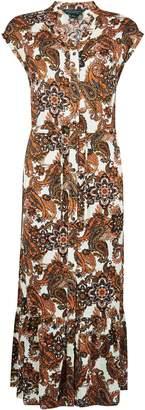 Dorothy Perkins Womens Multi Colour Paisley Print Drawstring Waist Shirt Dress