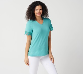 Denim & Co. Jersey V-Neck Short-Sleeve Top w/Lace Trim