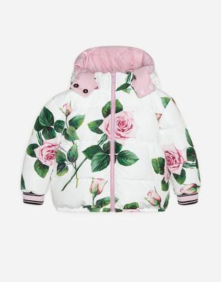 Dolce & Gabbana Nylon Coat With Tropical Rose Print