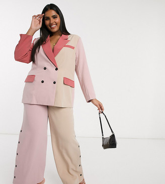 Unique21 Hero contrast panelled blazer in cream and pinks