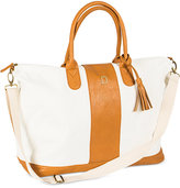 Cathy's Concepts Personalized Brown Striped Faux Leather Oversized Weekender Tote
