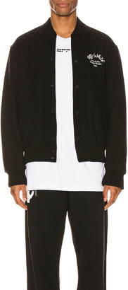 Off-White Arrow Varsity Jacket in Black & White | FWRD