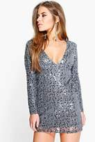boohoo Petite Violet Deep Plunge Sequin Bodycon Dress pewter