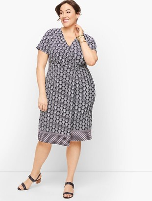 Talbots Knit Jersey Faux Wrap Dress - Medallion Print