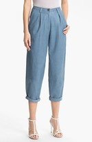 Tracy Reese Cuffed Baggy Leather Pants Womens Peri Blue Size 0 0
