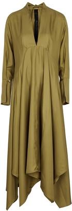 Petar Petrov Alita Olive Silk Midi Dress