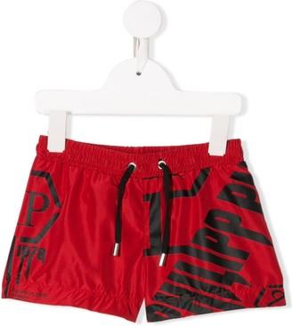 Philipp Plein Junior Logo Drawstring Swim Shorts