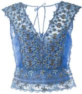 Alberta Ferretti beaded lace top - women - Silk/Polyamide/Metallic Fibre - 46