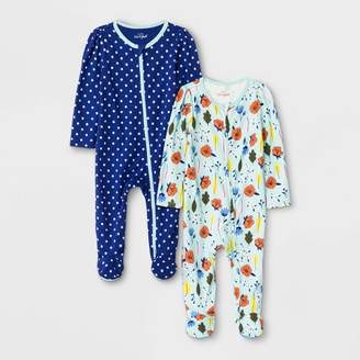 Cat & Jack Baby Girls' Sleep 'N Play One Piece Pajamas - Cat & JackTM Blue/Green