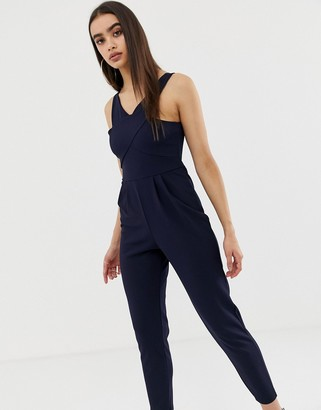 Outrageous Fortune cross neck fitted jumpsuit-Navy