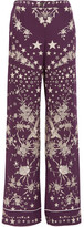 Roberto Cavalli Pretty Thing Printed Silk Straight-leg Pants - Dark purple