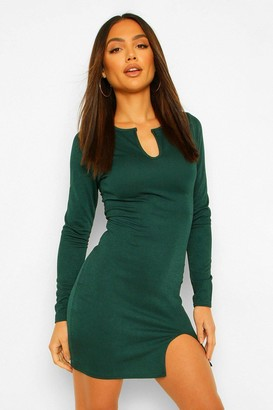 boohoo Long Sleeve Plunge Split Front Mini Dress