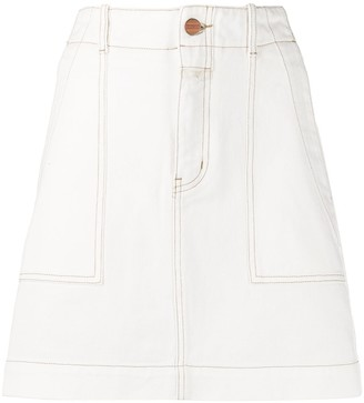 Closed stitch detail A-line skirt