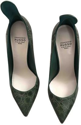 Francesco Russo Khaki Leather Heels
