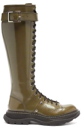 Alexander McQueen Lace-up Patent-leather Military Boots - Womens - Black Khaki