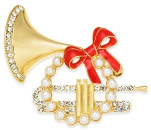 Charter Club Gold-Tone Pave & Imitation Pearl French Horn Box Pin, Created for Macy's