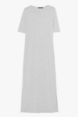 Nasty Gal Womens Split Decision Maxi Tee Dress - Grey - 4