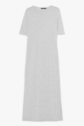 Nasty Gal Womens Split Decision Maxi Tee Dress - Grey