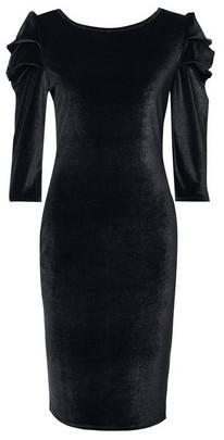 Dorothy Perkins Womens Tall Black Puff Sleeve Velvet Bodycon Dress, Black