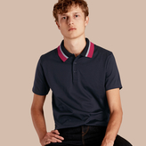 Burberry Cotton Polo Shirt with Knitted Collar