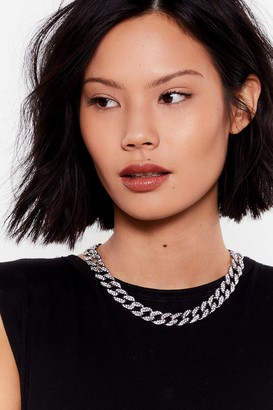 Nasty Gal Womens Ice Cold Diamante Chunky Chain Choker - Grey - One Size