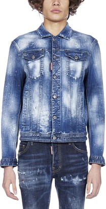 DSQUARED2 Paint Splatter Buttoned Denim Jacket