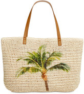 Style and Co Palm Tree Straw Beach Bag Tote, Only at Macy's
