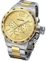 TW Steel Canteen Unisex Quartz Watch with Gold Dial Chronograph Display and Silver Stainless Steel Bracelet CB54