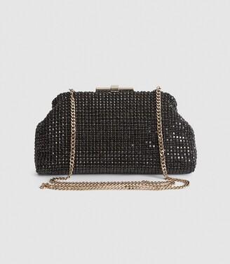 Reiss Adaline - Embellished Clutch in Black