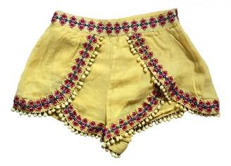 Tularosa Yellow Cotton Shorts for Women