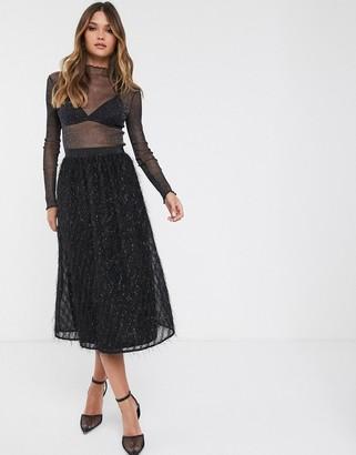 Vila midi skirt with fringe detail in black